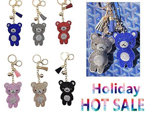 Kelly's Key Rhinestone Chain Pendant Bag Ring Crystal Charm Purse Keyring Keychain Gift Car Cute Handbag (Bear 6pk Mix Color) GIFT SET