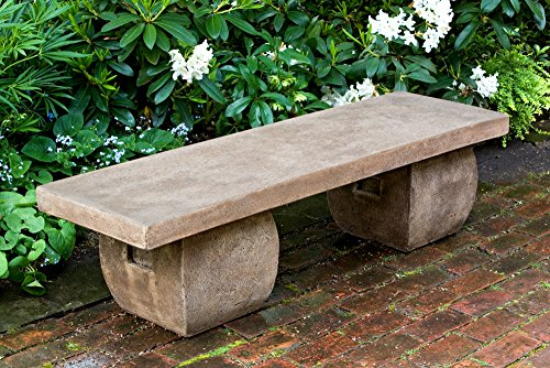 Campania International BE-100-GS Ryokan Bench, Grey Stone Finish