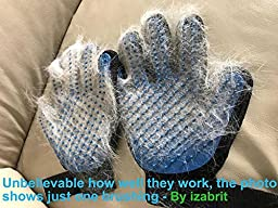 Pet Grooming Glove - Gentle Deshedding Brush Glove - Efficient Pet Hair Remover Mitt - Massage Tool with Enhanced Five Finger Design - Perfect for Dogs & Cats with Long & Short Fur - 1 Pair (BLUE)
