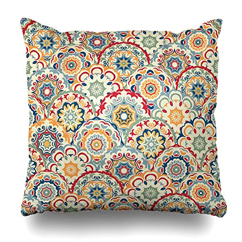 - Ahawoso Throw Pillow Cover Geometric Blue Spanish Abstract Pattern Colored Floral Circles Antique Carpet Classical Design Zippered Pillowcase Square Size 16 x 16 Inches Home Decor Cushion Case