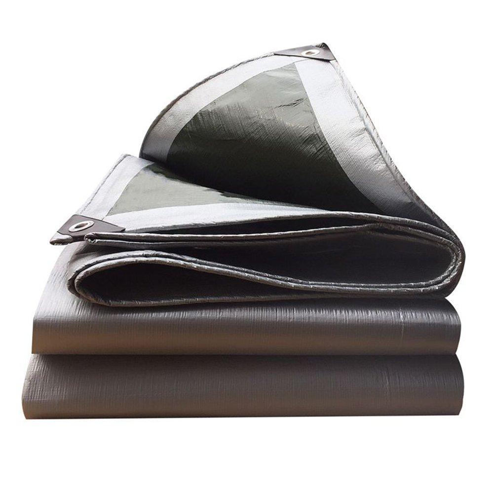 Regenschutz Wasserdicht Starke Plane, LKW-Schutz Regen Schatten Tuch Isolierung Plane Hochtemperatur-Anti-Aging, Silber + Grün (Farbe   A, größe   6x10M)