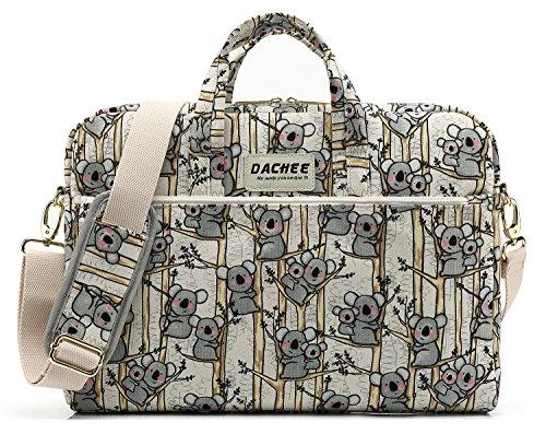 DACHEE Grey Koala Pattern 15 inch Canvas Waterproof Laptop Shoulder Messenger Bag for 14 Inch to15.6 inch Laptop and MacBook Pro 15 Laptop Case