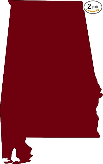 Amazon Com Alabama Silhouette Map Outline State Burgundy Set Of