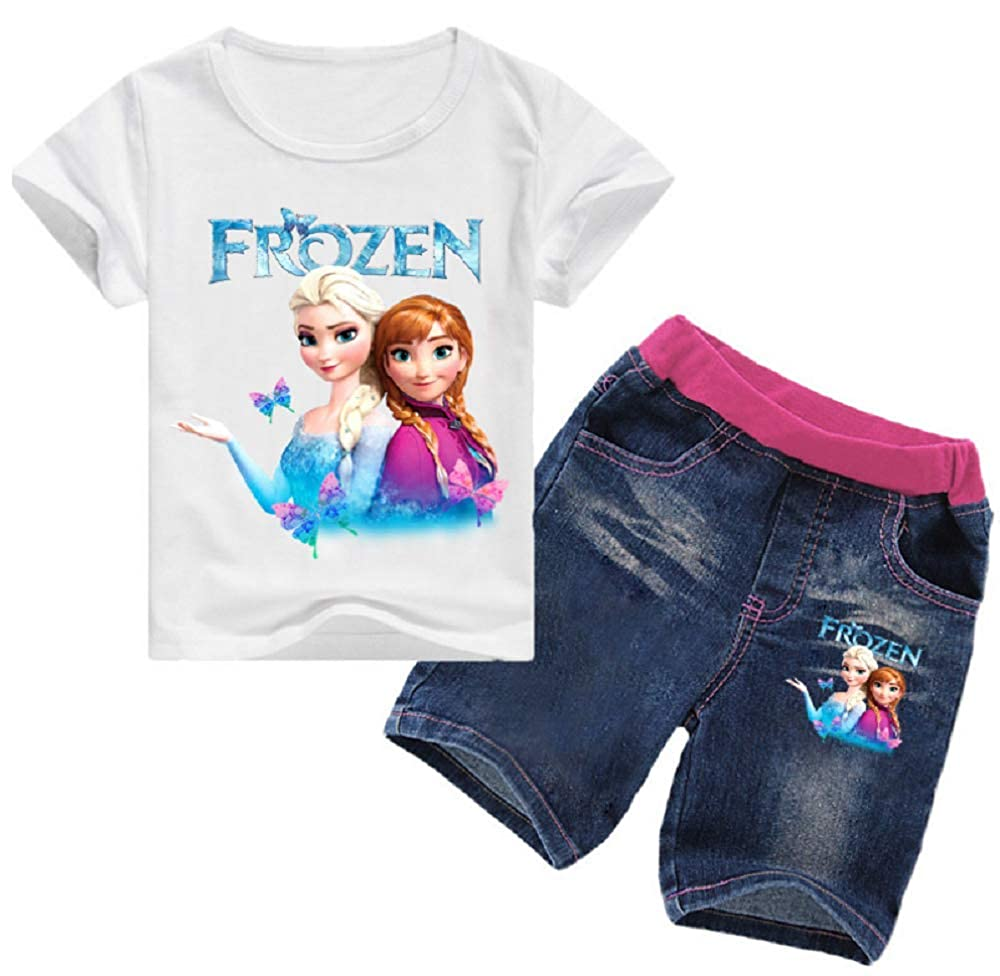 Indepence Life Toddler Girls 2-Piece Frozen Anna and Elsa T-Shirt with Jeans Sets Girls Summer Clothes Sets