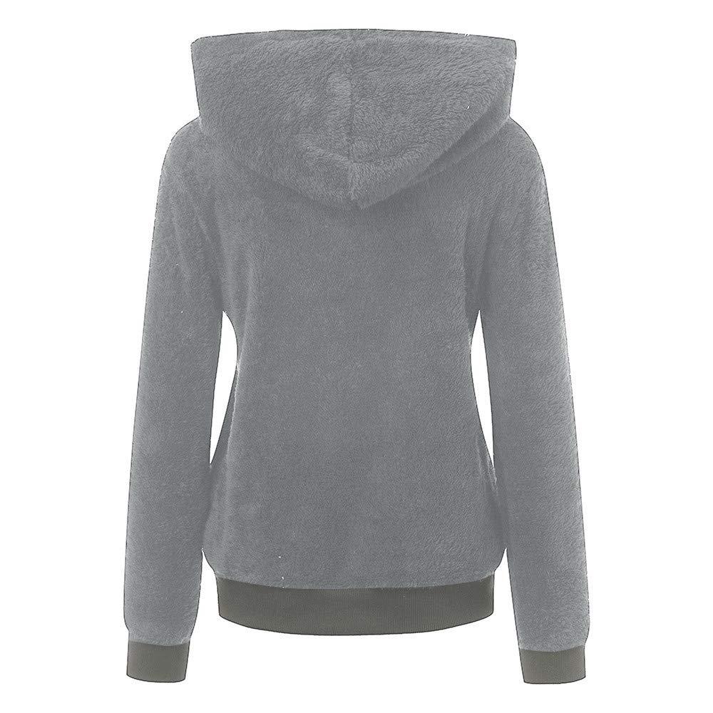 Pongfunsy Women Hoodie Tops Women Fashion Plus Size Casual Pocket Hooded Parka Outwear Cardigan Sweater Coat