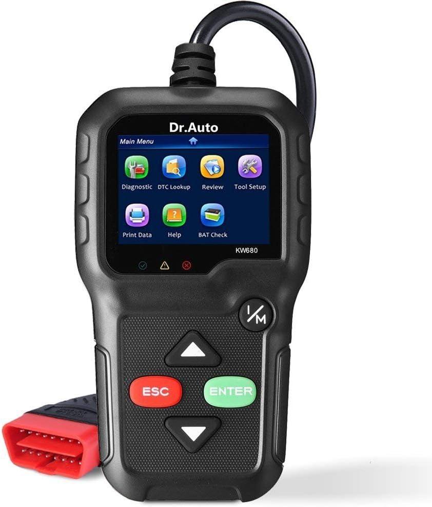 Dr. Auto 2.8' LCD OBD2 Herramienta Diagnóstico Automóvil Universal OBD II Escáner Lector de Código de Coche y Escáner de sistemas de sensor de O2 para Lee y Borra los Códigos de Falla