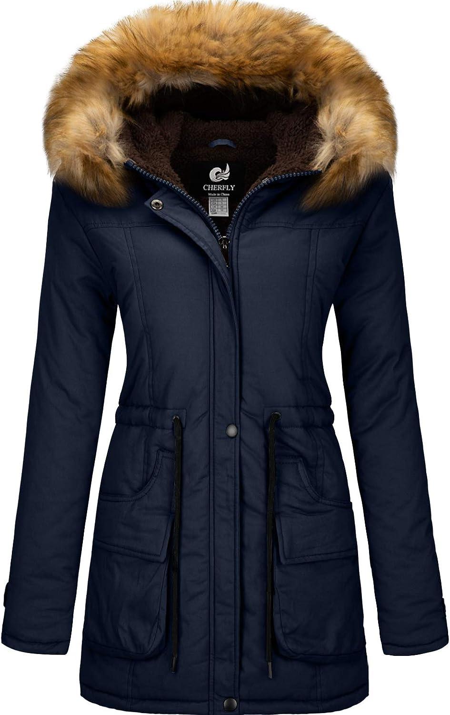 CHERFLY Women's Winter Coat Hooded Puffer Jacket Fleece Lined Parka with Fur Trim