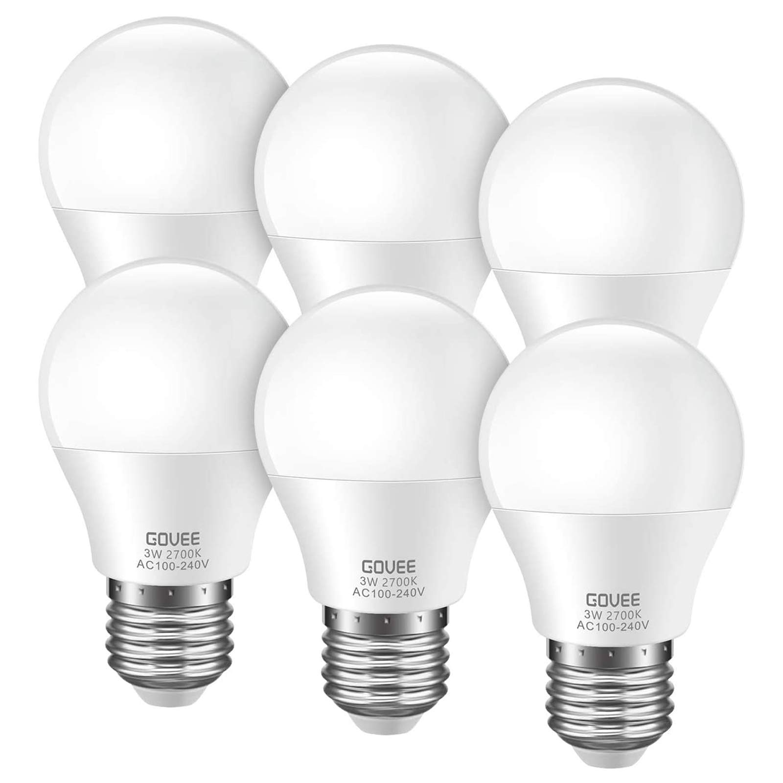 Govee LED Light Bulbs 3W (25 Watt Equivalent), G40 Light Bulbs 2700K Warm White E26 Medium Screw Base LED Bulbs Energy Saving for Bedroom Night Lights, Chandelier, Refrigerator, NOT DIMMABLE, 6 Pack