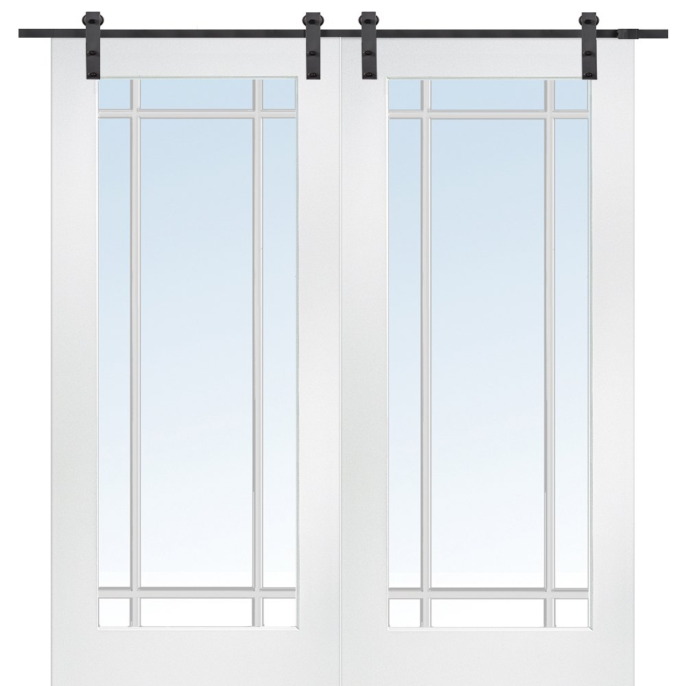 National Door Company Z009630 Primed MDF 9 Lite True Divided Clear Glass 60'' x 80'', Barn Door Unit