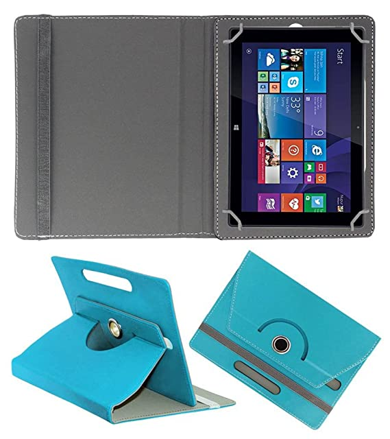 Acm Rotating Leather Flip Case for Iball Slide Wq149r Cover Stand Greenish Blue Touch Screen Tablet Bags   Cases