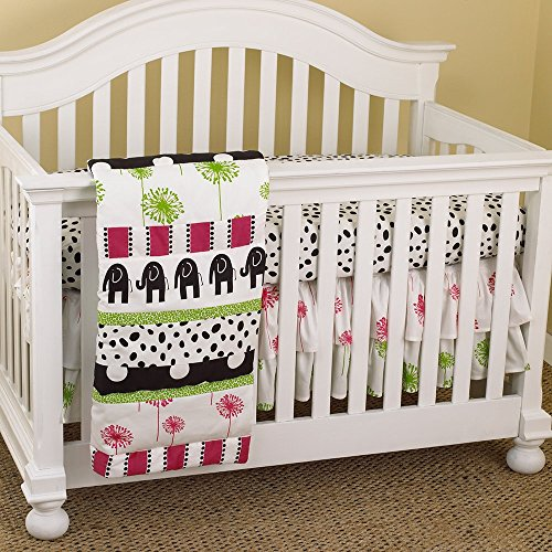 Cotton Tale Designs Hottsie Dottsie Set, Green/Black/Pink, 7 Piece (Tale Elephant Cotton)