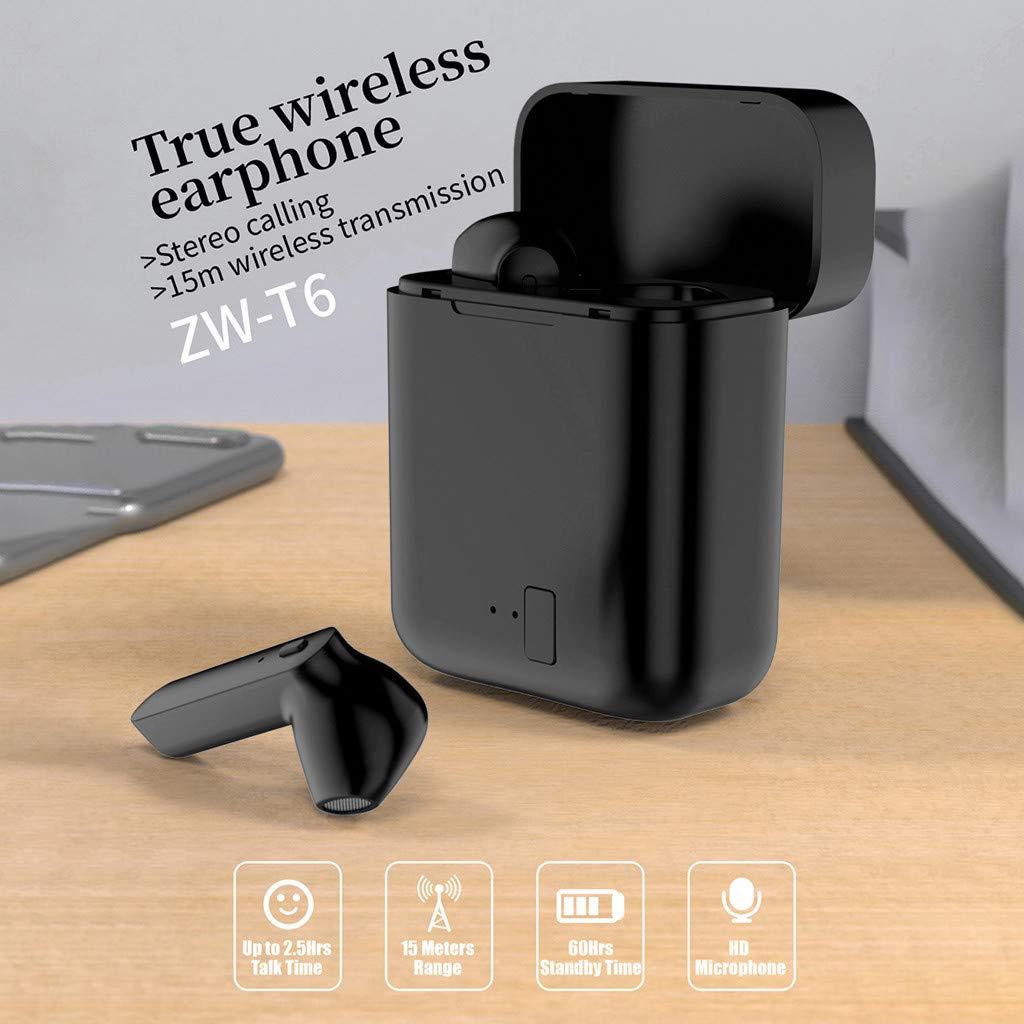 Qomomont Auriculares BT para iPhone y Android Bluetooth 5.0, est/éreo, inal/ámbricos, Bluetooth, con Mini Compartimento de Carga y micr/ófono Integrado