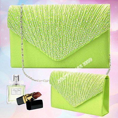 Envelope Womens Wocharm Wedding Ladies Bag Apple Evening Prom Bag Satin Bridal Shoulder Vintage Handbag Fashion Clutch green Bags Diamante n1YfSqxRY