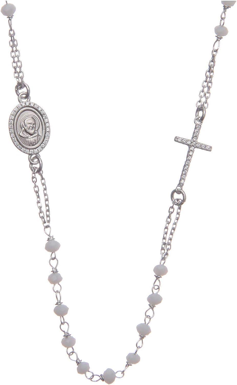 Bracciale rosario Padre Pio nero zirconi bianchi argento 925