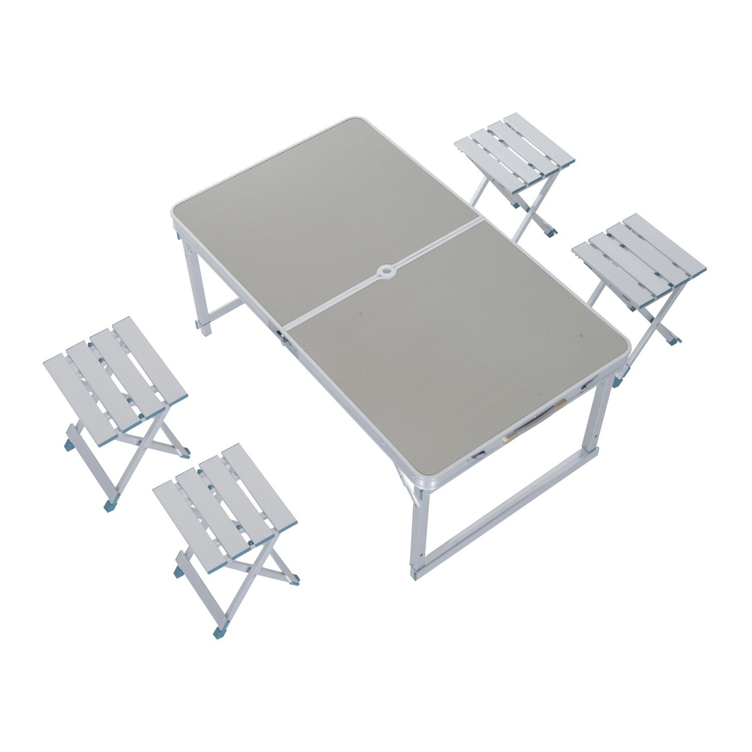 Aluminum Folding Dining Picnic Table with 4Pcs Chairs Set for Camping Fishing With Ebook