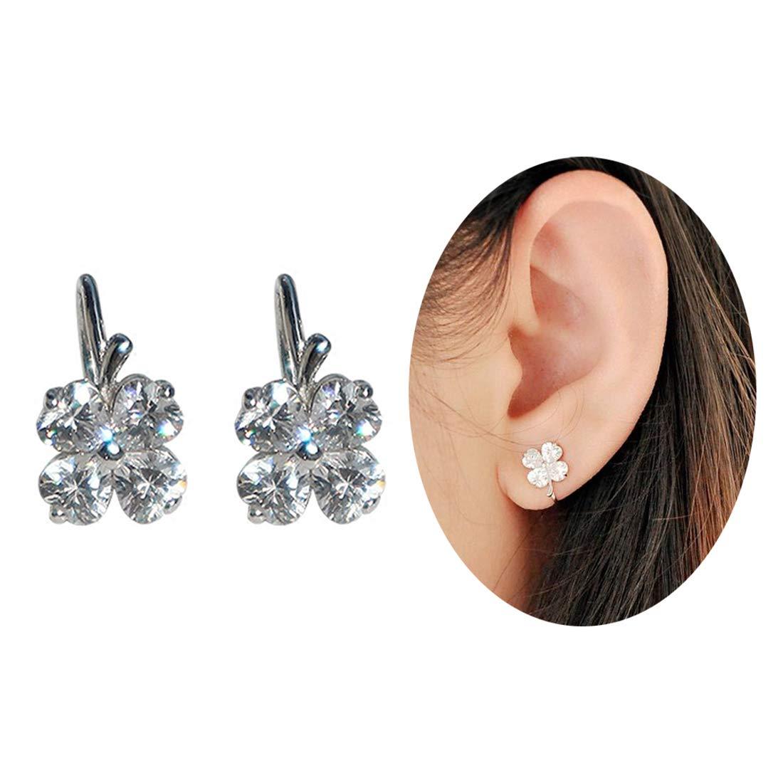 Aifeer Sterling Silver No Piercing Ear Cuffs Cubic Zirconia Four Leaf Clover U-Shaped Ear Clip On Earrings