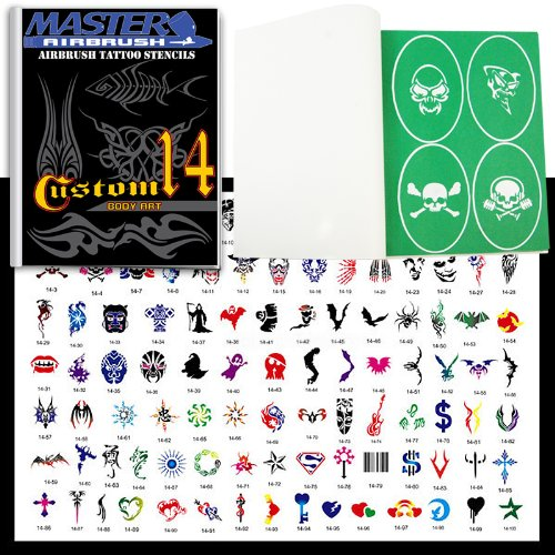 Master Airbrush® Brand Airbrush Tattoo Stencils Set Book #14 Reuseable Tattoo Template Set, Book Contains 100 Unique Stencil Designs, All Patterns Come on High Quality Vinyl Sheets with a Self Adhesive Backing. ()