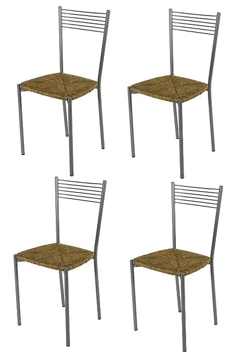 Tommychairs Set 4 sedie Design Elegance Moderne per Cucina Bar e  ristoranti, con Robusta Struttura in Acciaio Verniciato Alluminio e Seduta  in Paglia ...