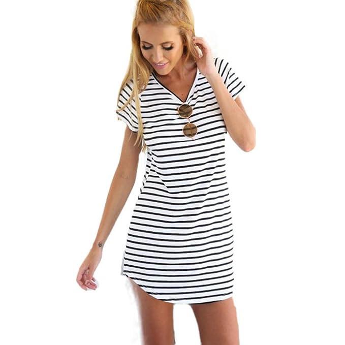 ♪Manadlian♪ Damen Kleider Sommer Gestreift Party Strand T-Shirt ...