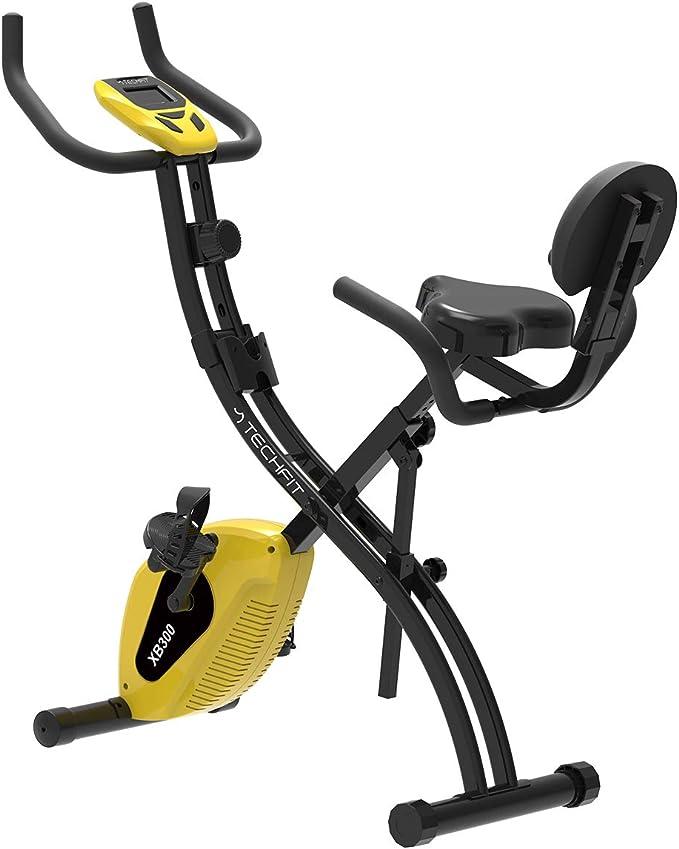 TechFit XB300 Bicicleta de Ejercicios Plegable Magnética, Unisex, Volante de Inercia de 4.5 kg, Sistema de Frenado Magnético de 10 Velocidades, Amarillo: Amazon.es: Deportes y aire libre