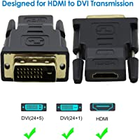 Tobo DVI to HDMI; DVI (DVI-D) to HDMI Male to Female Adapter with Gold-Plated (Pack of 1)