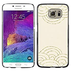 LECELL--Funda protectora / Cubierta / Piel For Samsung Galaxy S6 SM-G920 -- Scaled Pattern Gold Glitter Beige Waves --