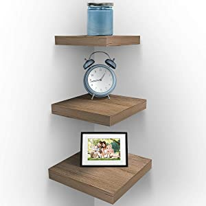 Sorbus Wall Mount Corner Shelves, Square Hanging Wall Shelves Decoration, Perfect Trophy Display, Photo Frames, Home Décor, Set of 3 (3-Piece Square Set - Mahogany)