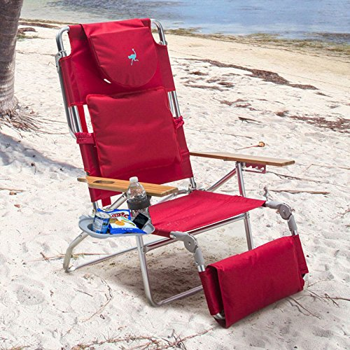 Padded Ostrich 3 N 1 Beach Chair Lounger with Side Tray by Ostrich