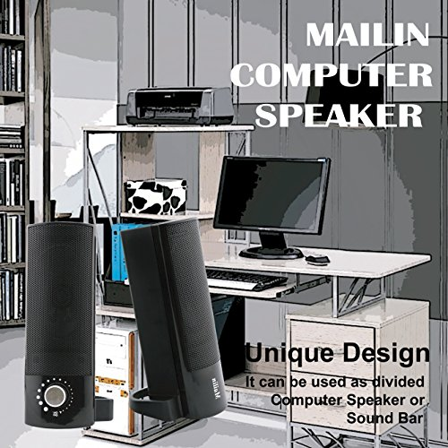 Mailin Detachable Computer Speaker, PC Speaker, Soundbar, Laptop Speaker, USB Power Supply 3.5mm Stereo Input, 5 Watts RMS Total Power with Volume Control (Black) by Mailin (Image #5)'