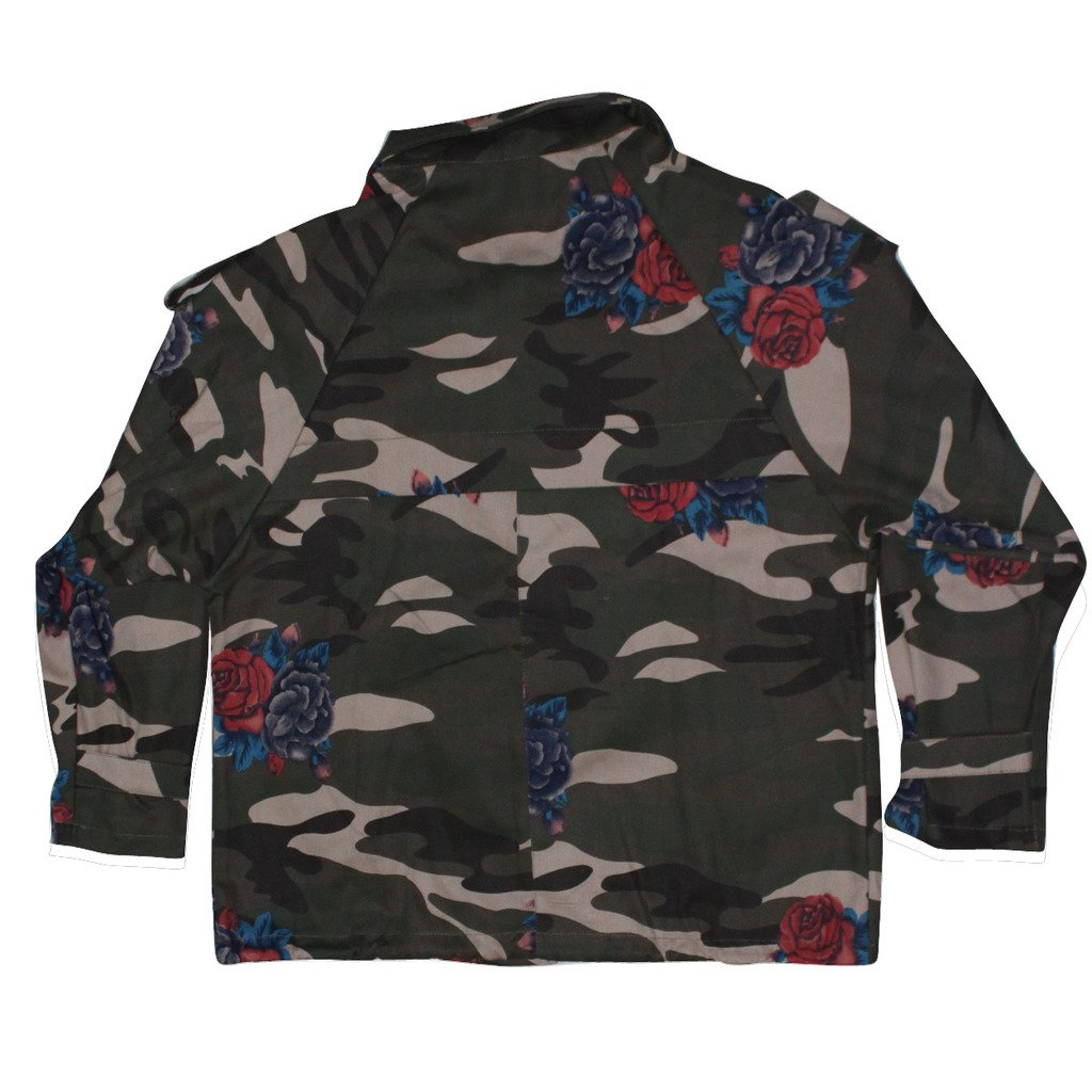 VOBAGA Women's Army Green Camouflage Long Sleeve Denim Jackets L
