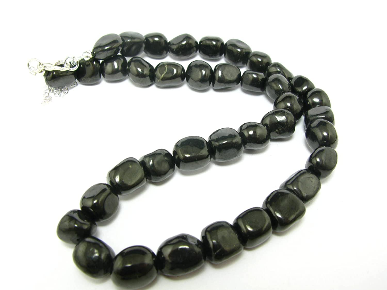 Shungite Necklace Beads From Russia - 10mm Freeform Beads - 19