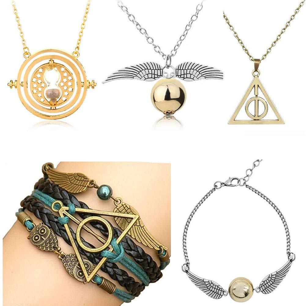Inspired Necklace Merchandise for HP Fans, Time-Turner Death-Hallows Golden-Snitch Necklace Bracelet Jewelry Set Best Gift for Boys, Girls, Kids, Women (Bracelet Set) by SPYSHOP