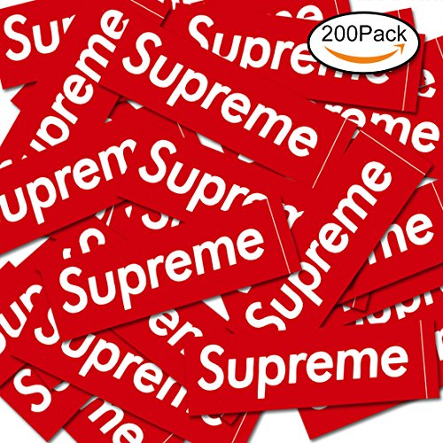 200pcs Red Supreme Stickers Waterproof Oil Proof Skateboard Stickers for Phone, Bikes, Car, Laptop or Luggage 3.6x1.2inch