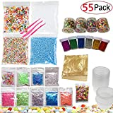 52 Pack Slime Making Kits Supplies,Gold Leaf,Foam Balls,Glitter Shake Jars,Fishbowl Beads,Fruit Slices,Fake Sprinkles,Glitter Sequins Accessories, Slime Tools (Slime Kits+8 Slime Containers)