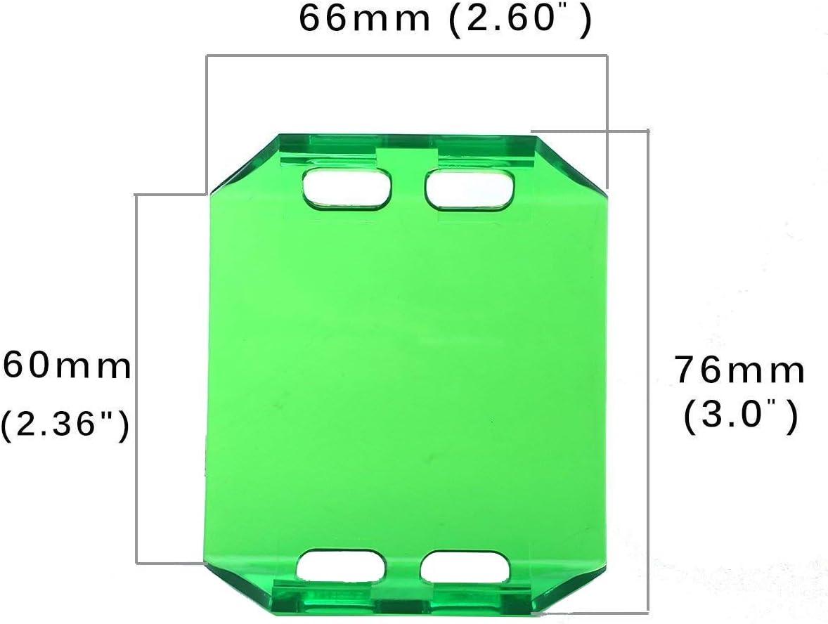 lightronic 4pcs Snap on LED Off-Road Work Light Bar 18W Lens Cover Green LED Light Bar Covers Green