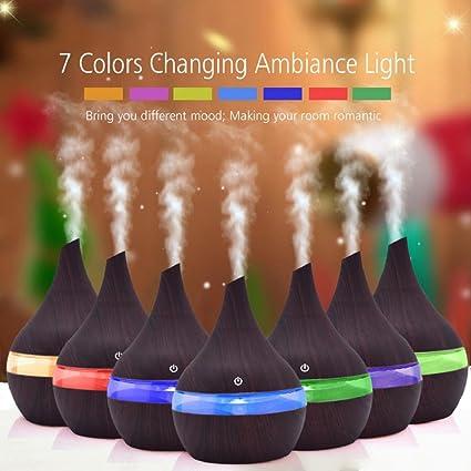 QUICKLYLY 300ml Humidificadores Ultrasonicos Aromaterapia USB Gran Capacidad Bebes Silencioso Difusor Aceites Esenciales Vapor LED (Marrón)