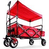 FUXTEC faltbarer Bollerwagen FX-CT500 rot klappbar mit Dach, Vorderrad-Bremse, Vollgummi-Reifen, Hecktasche, für Kinder geeignet - Das Original mit GS-Prüfsiegel geprüfte Qualität !