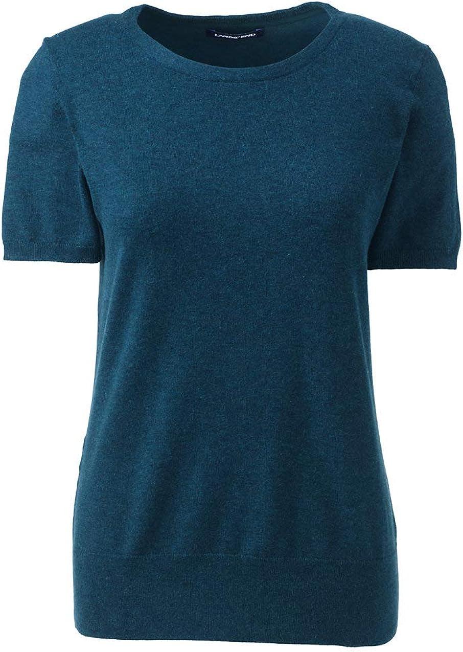 Lands End Womens Supima Cotton Short Sleeve Crewneck Sweater
