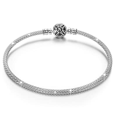 NinaQueen 925 Sterling Silver Mesh Charms Bracelet - 19 CM