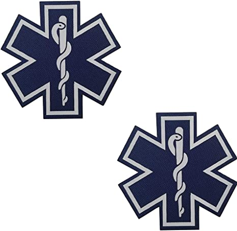 Glow in Dark Patch Tactical ACU EMS EMT Medic Paramedic Star of Life Morale Embroidered Applique Iron On Sew On Emblem
