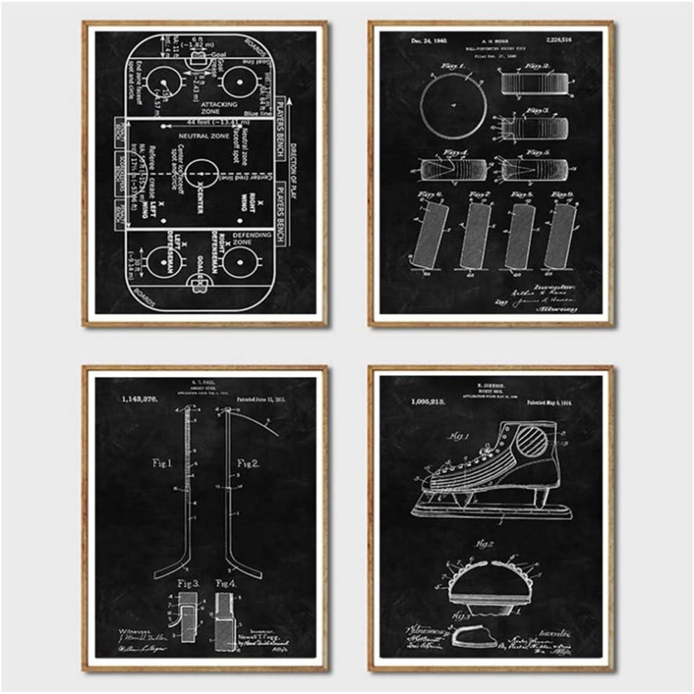15.7x19.7 Toile Peinture Hockey Tableau Noir Art Mural Affiches Et Impressions Hockey Cadeau Blueprint Mur Photos///40x50 cm x4 sans Cadre