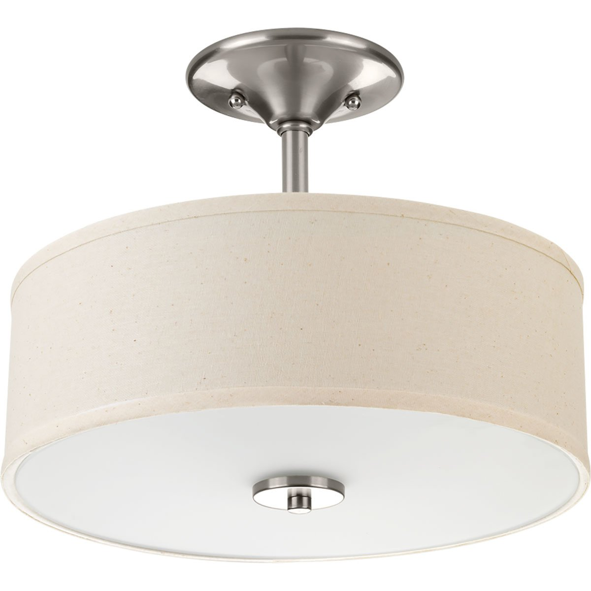 Progress Lighting P3712-09 Inspire Two-Light Semi-Flush, Brushed Nickel