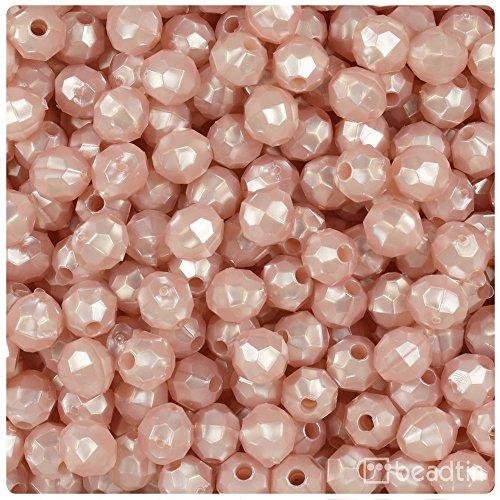 (BEADTIN Light Rose Petal Pink Pearl 8mm Faceted Round Craft Beads (450pc))