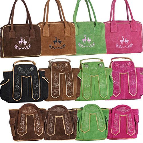 Dirndltasche Handtasche Trachten Tasche aus echtem Leder, 20cm, dunkelbraun