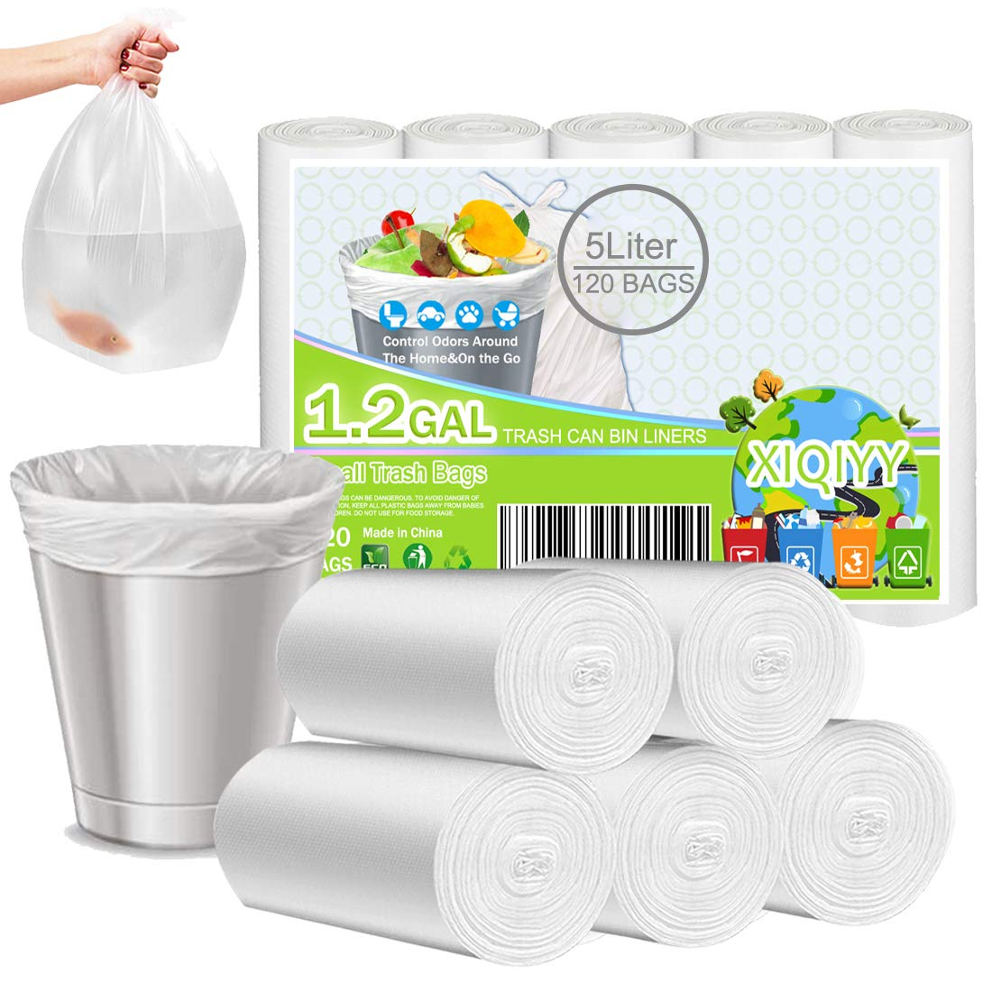1 2 Gallon Biodegradable Garbage Bags 120 Count Bathroom Trash Can Liners Recycling Material Unscented Wastebasket Bins Liners For Kitchen Home Bedroom Office Garbage Can Fit 3 5l Xiqiyy Small Trash Bags Industrial