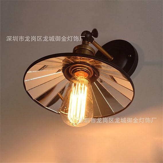Retro eólica industrial Loft restaurante salón escalera buhardilla edison lámpara de hierro lámpara de pared de vidrio de refracción- 220mm: Amazon.es: Iluminación