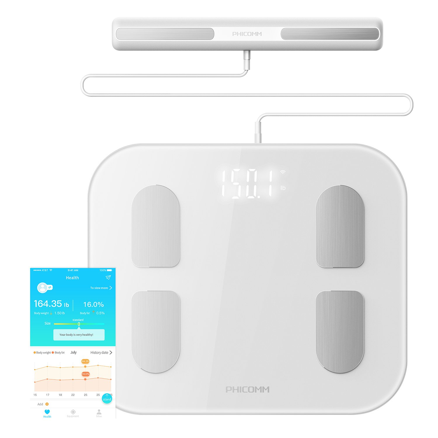 PHICOMM S7 Smart Body Fat Weight Scale with Fitness App & Body Composition Monitor, 22 Indicators (Pearl White) by Phicomm