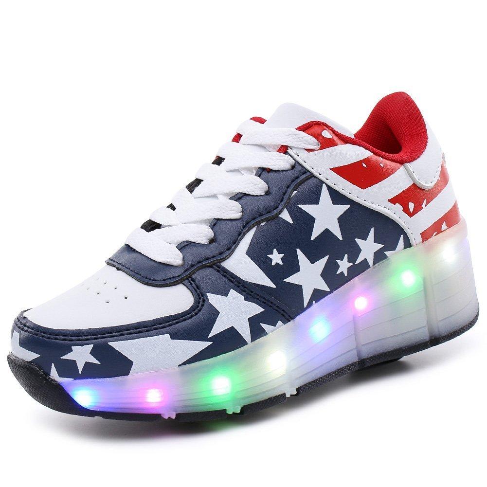 LED Light Up Shoes Skate Shoes Sport Shoes Dance Boot Unisex Christmas (Navy 11 M US Little Kid)