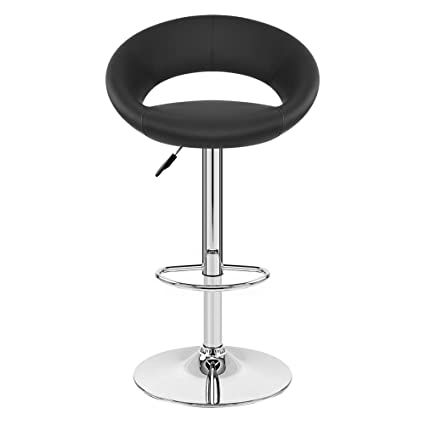 TIED RIBBONS Designer Letheratte Bar Stool Chair for café, Bar, Home, Living Room, Kitchen(Black, Letheratte and Steel)