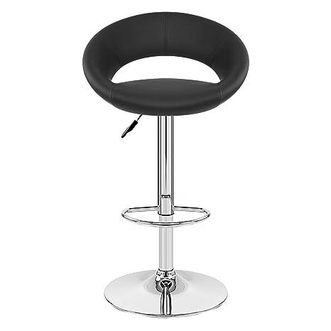 TIED RIBBONS Designer Letheratte Bar Stool Chair for Home, Bar, Living Room, Kitchen, caf�(Black, Letheratte and Steel)